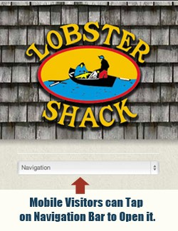 Lobster Shack view on a mobile device